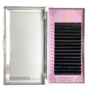 Черные ресницы Enigma Изгиб L+ (микс) 16 линий