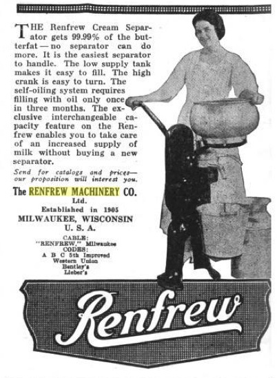 Renfrew Machinery Co 1921 Ads Cream Separator