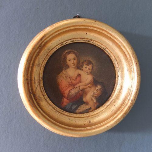 La Vierge et l'enfant, cadre doré.