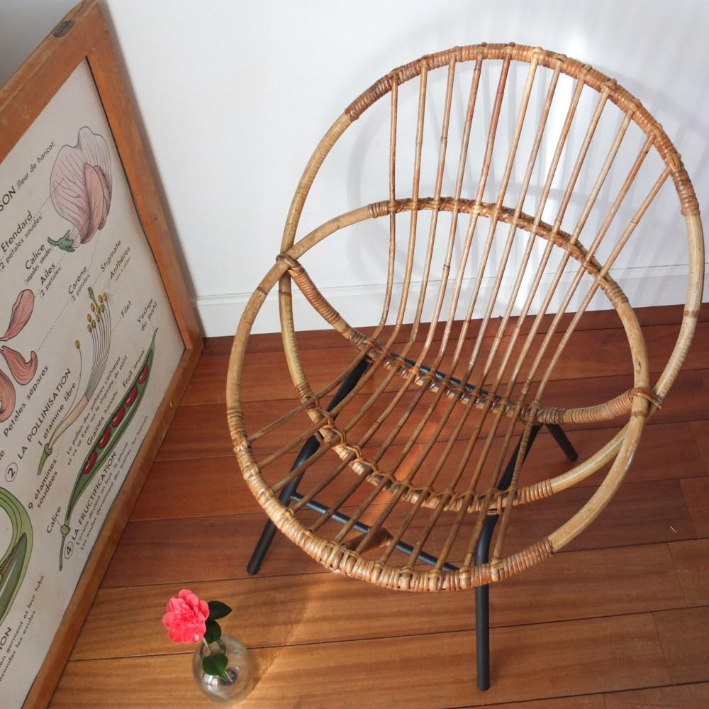 Fauteuil corbeille en rotin des années 50-60