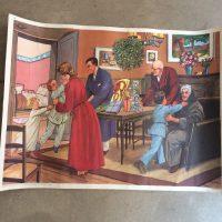 Affiche scolaire Les étrennes n°9 et Le mariage à la mairie n°10, années 50, éditions Rossignol