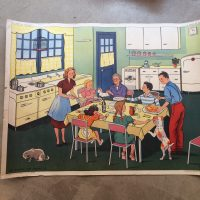 Affiche scolaire Le repas en famille & Le petit malade, années 50, Coopération pédagogique