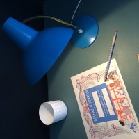 Lampe aluminor bleu gitane, années 50