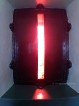 Red glass window to generate the red beam