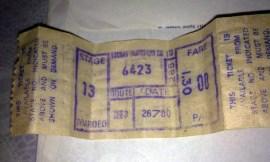 Old Vacoas Transport Bus Ticket - 26JUL80