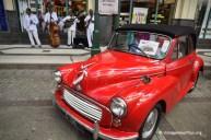 Vintage Valentine Red Convertible Morris Minor