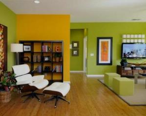 Interiores de chalets paredes con dos colores