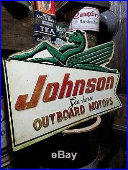 Vintage old Johnson outboard motor sign gas oil garage hunting fishing RARE