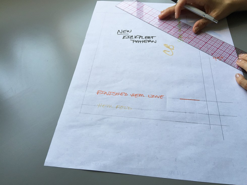 How to Draft a Kickpleat Pattern, Drafting the seam allowances | @vintageontap