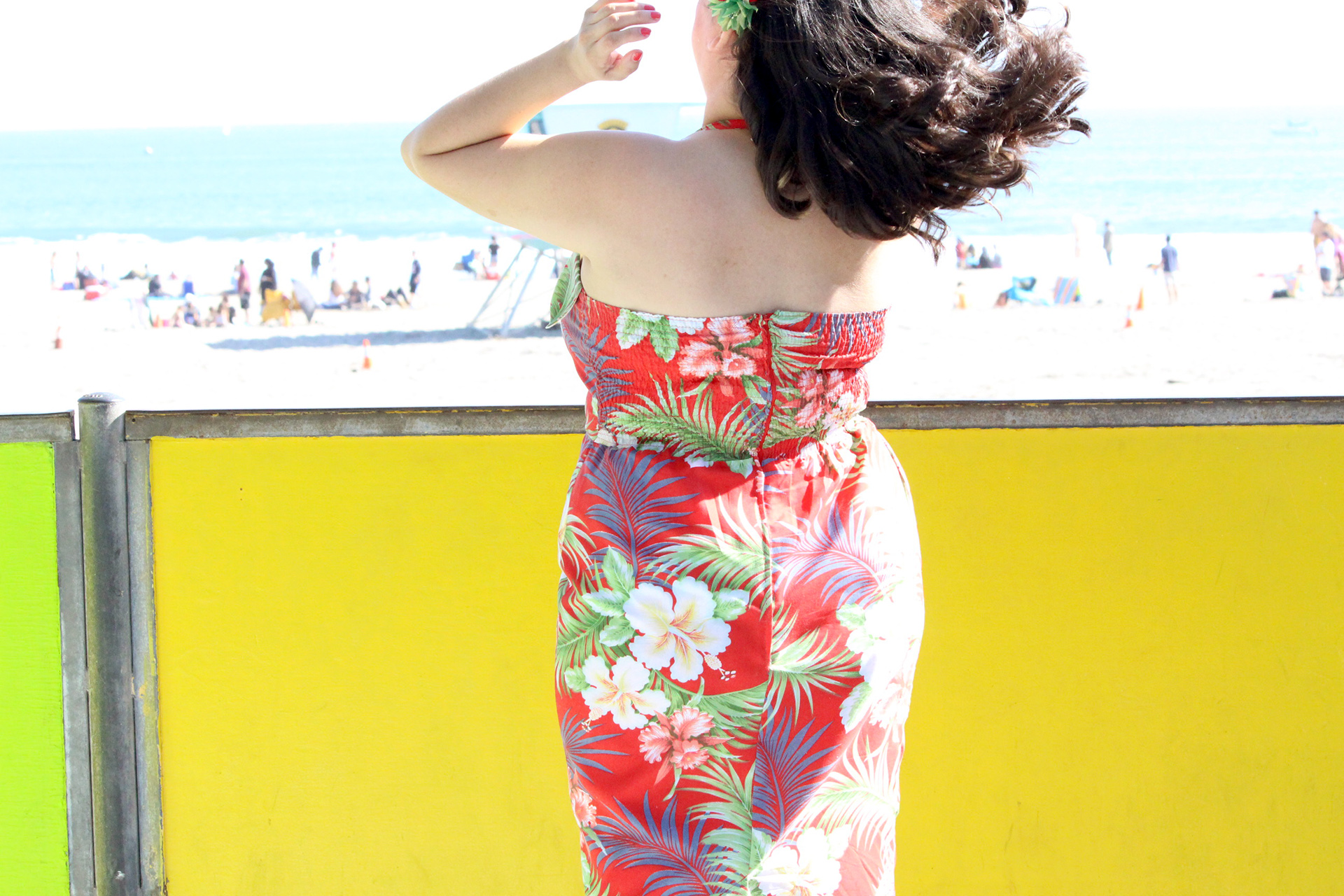 Tiki Dress, Gertie's New Book for Better Sewing, back view and hair | @vintageontap
