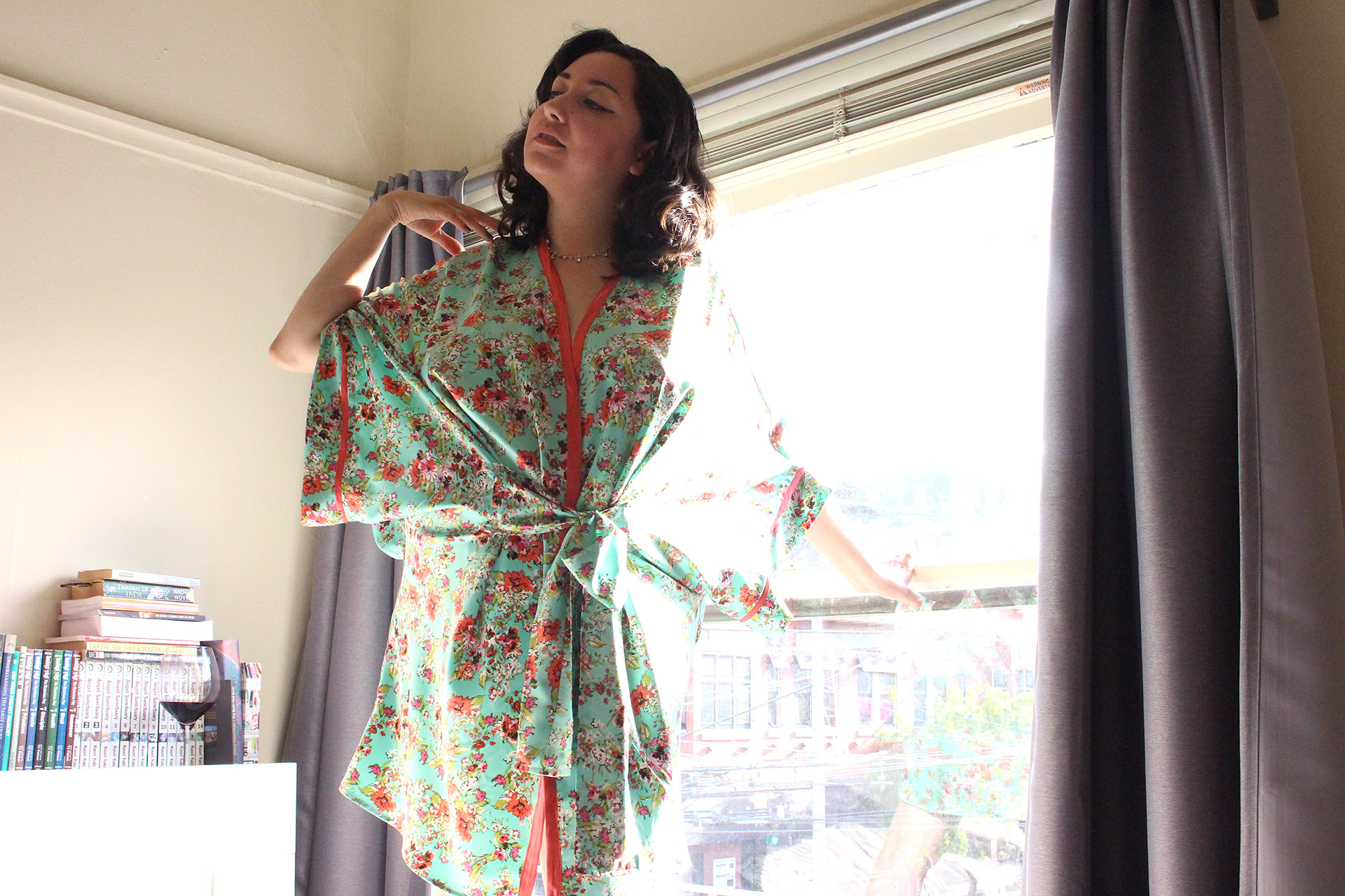 Learn how to sew a robe, have a completed Seamwork Almada Robe! | @vintageontap