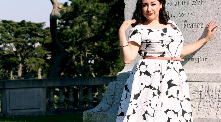 This is the Colette Rue dress made with supplies purchased at Mood Fabrics | @vintageontap