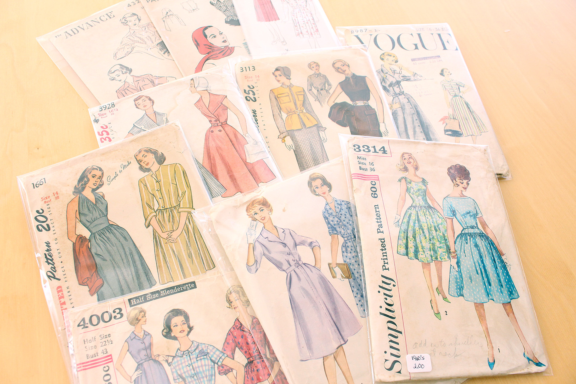 Collection of vintage patterns from the Vintage Fashion Fair, September 2016 Sewing Pinup Haul | @vintageontap