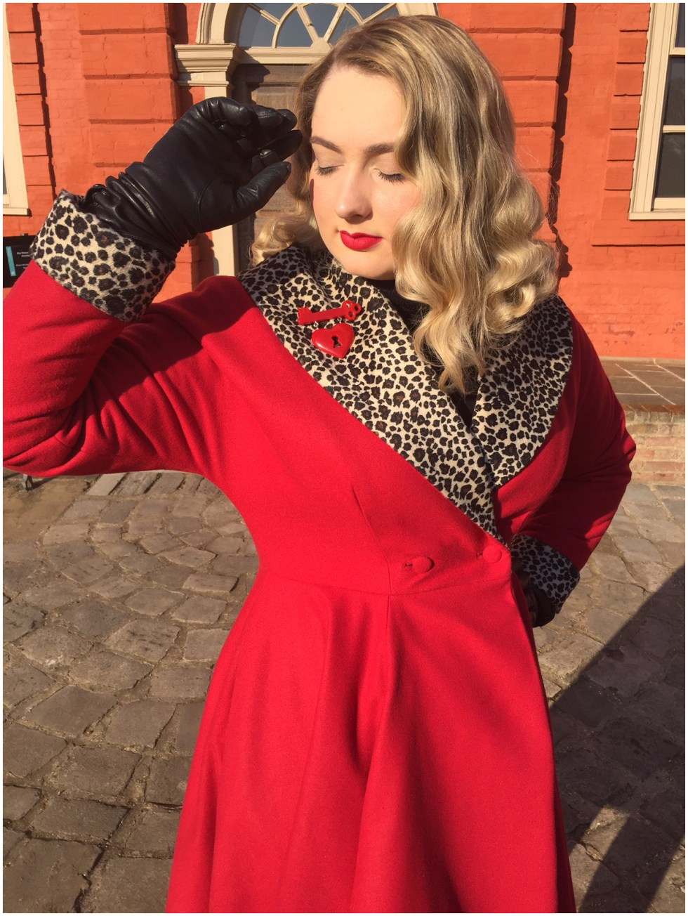 Butterick B5821, Red leopard twirly coat by Christina from Gussets and Godets | Vintage on Tap
