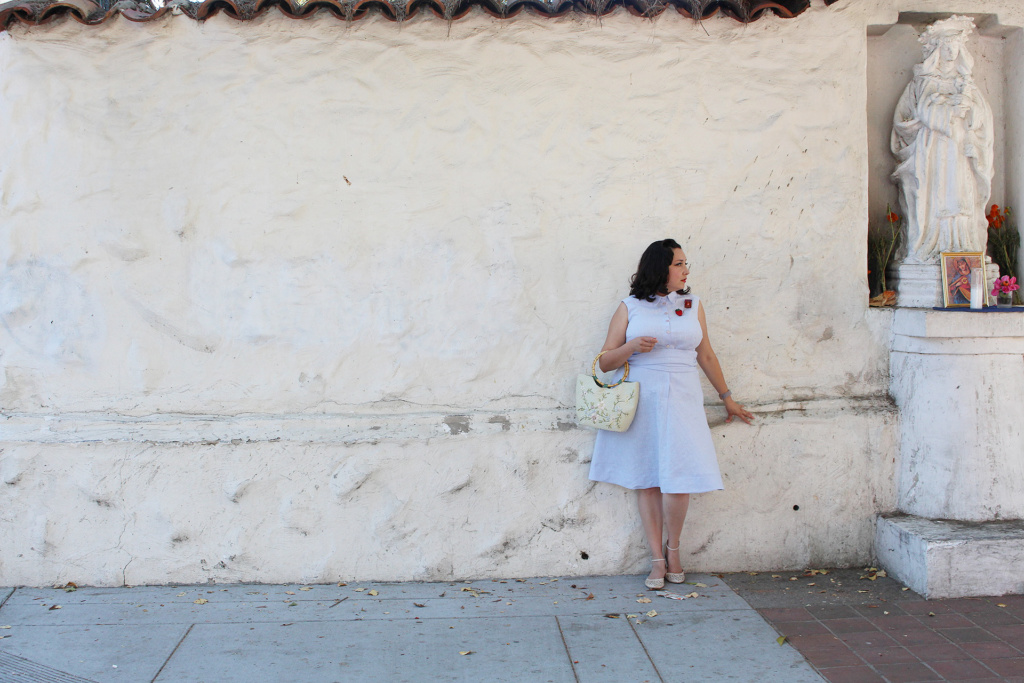 How to sew the Colette Penny dress in light blue linen | Vintage on Tap