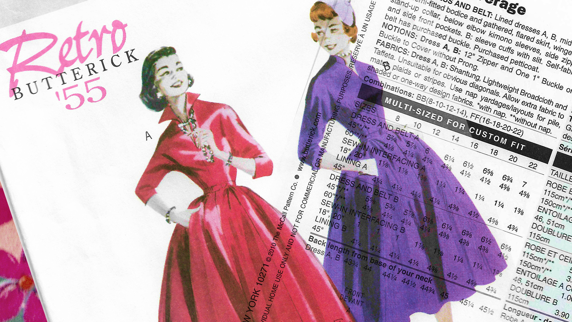 Sewing Pattern Envelope scan of a dress from 1955 with two collar options. Envelope back scan is overlaid on the top.