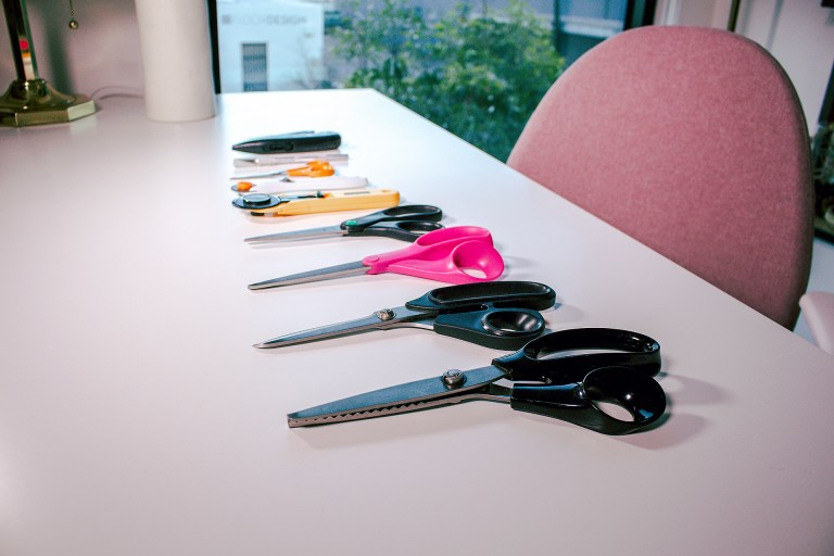 Collection of cutting implements, discussing why they're an important sewing tool to invest in. Snips to pinking shears are displayed.