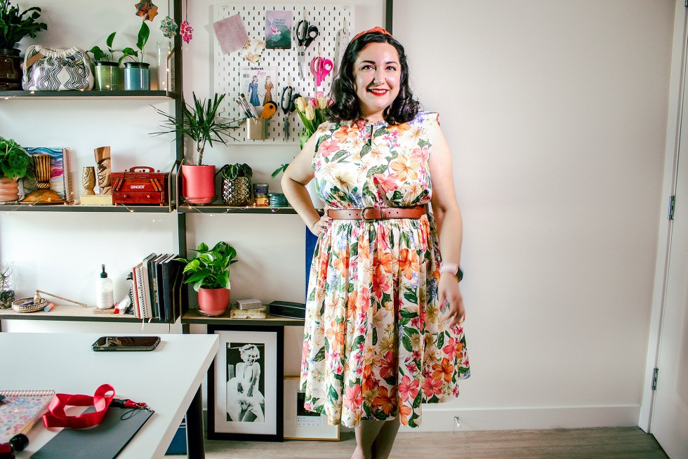 Bianca wearing a completed Charm Patterns Cinch It Dress, a popover dress.
