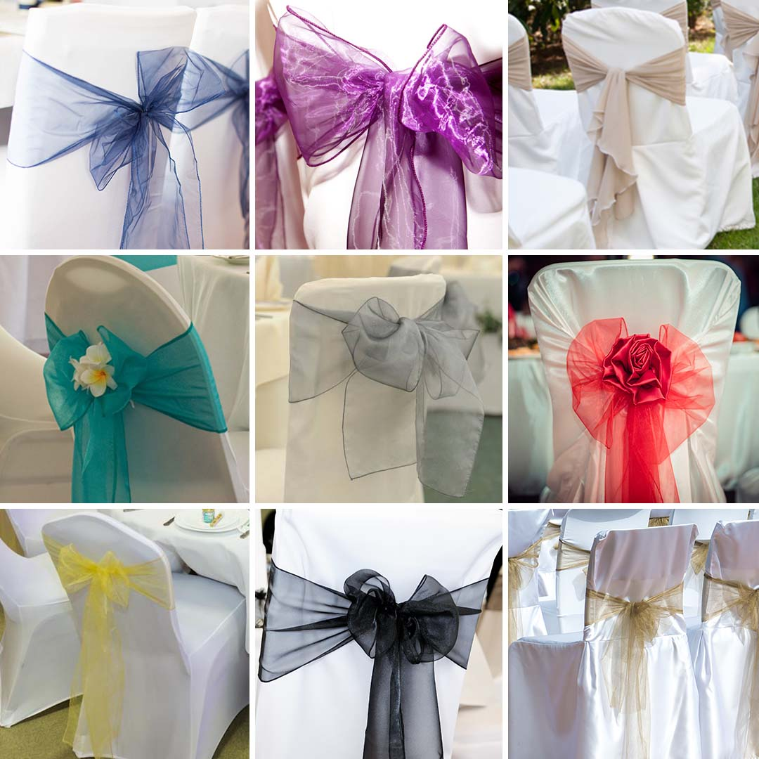 wedding chair cover hire kings lynn soccer bean bag covers tablecloths bunting vintage partyware organza sash bow multiple colours available hessian burlap table linen