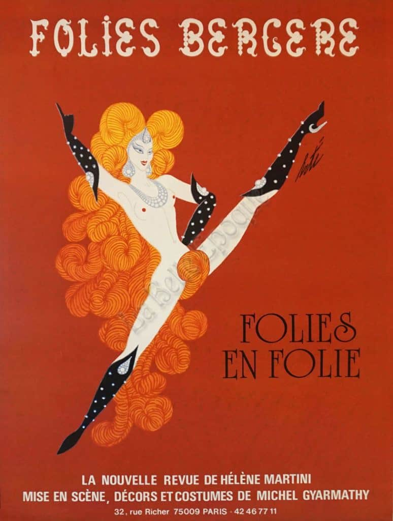 French Vintage Art Deco Revue Poster by Helene Martini for 'Folies Bergere' (Red) by Erte. 1985 » Vintage Posters by La Belle Epoque   Vintage ...