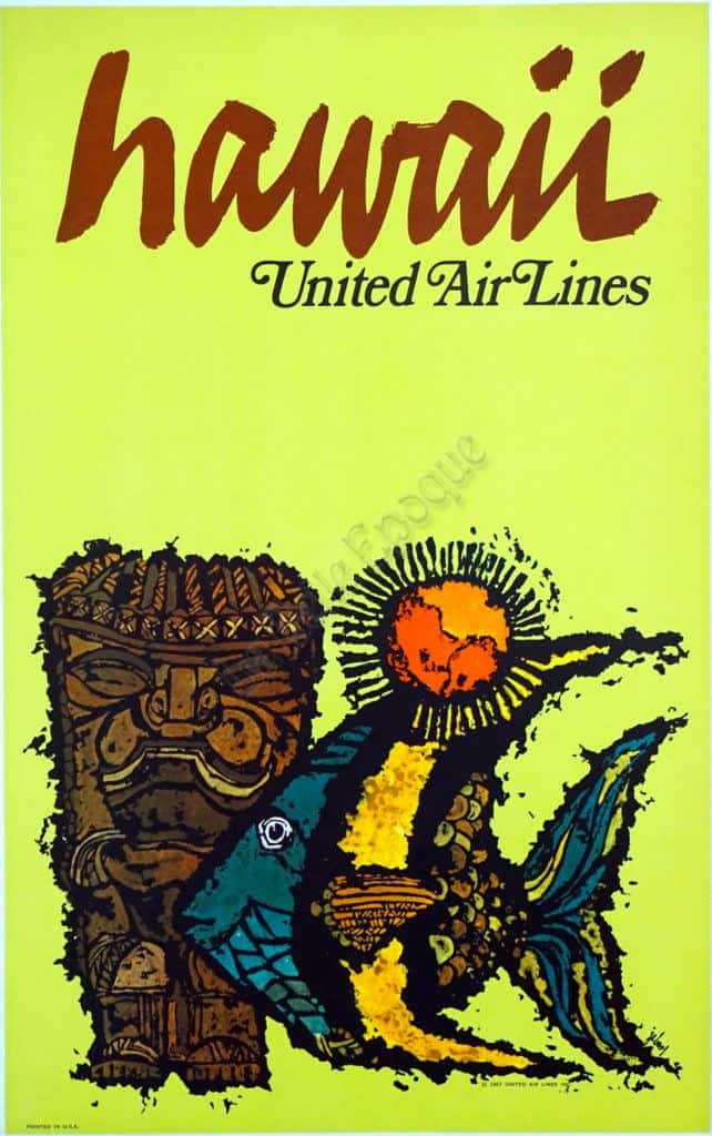 united air lines vintage travel poster to hawaii by jebray 1967 vintage posters by la belle epoque vintage posters in nyc