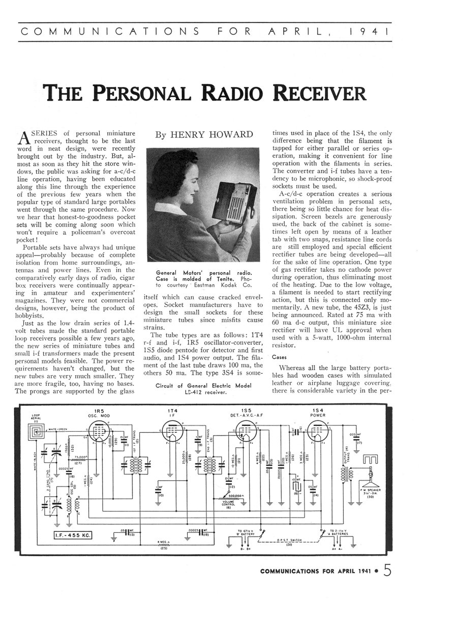 Vintage Radio and Electronics. Personal Receivers in 1941.
