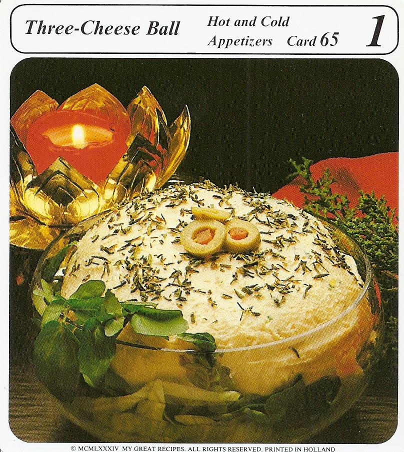 Three Cheese Ball Vintage Recipe Cards
