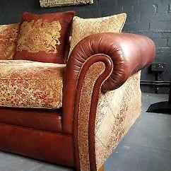 Leather And Chenille Sofa Platform Diy 652 Cleveland Tetrad Vintage 4 Seater Rrp 7595 00