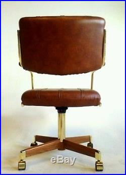 office chair that sits higher orange metal dining chairs vintage midcentury danish clam faux leather chromcraft cantilever