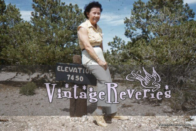 old 1959 slide of a woman climbing a mountain