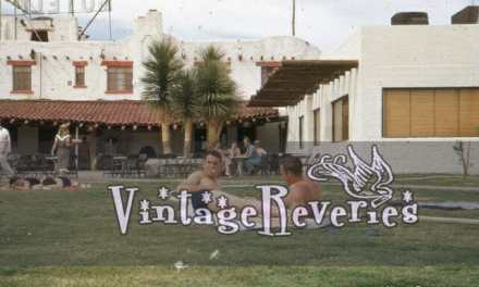 Picture of guys sunbathing in the 1950s at a hotel