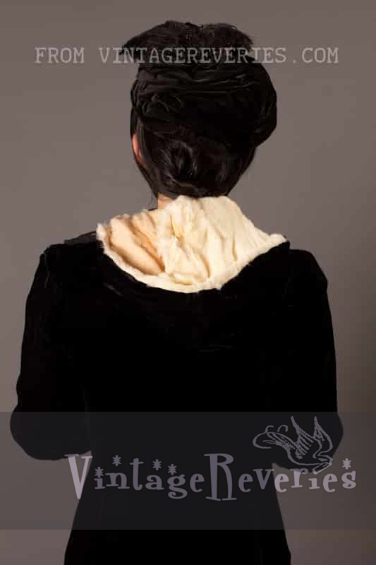 1800s winter bonnet, hand muff, and cloak