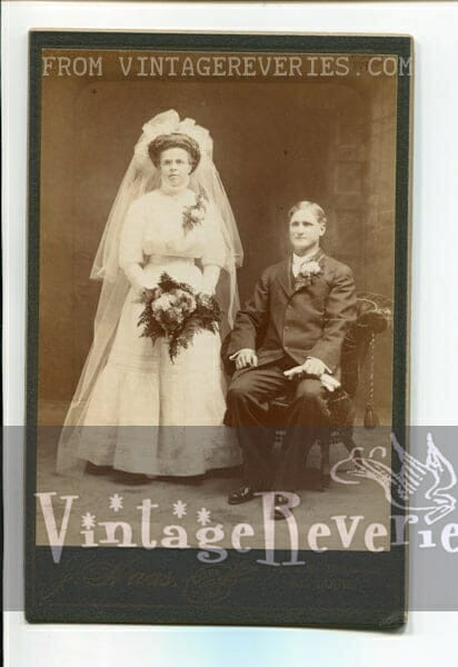Edwardian wedding photo with veil and poofed sleeves