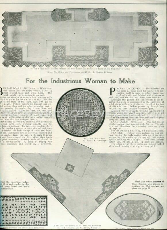 Bureau Scarf pattern - April 1917 issue of The Modern Priscilla