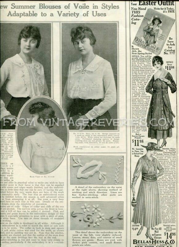 edwardian summer fashions - Bellas Hess & Co fashion advertisement