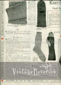 World War I knitted mittens and socks for the army and navy