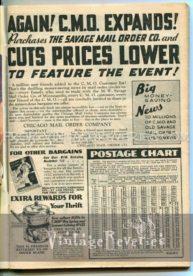 1930s postage rate table