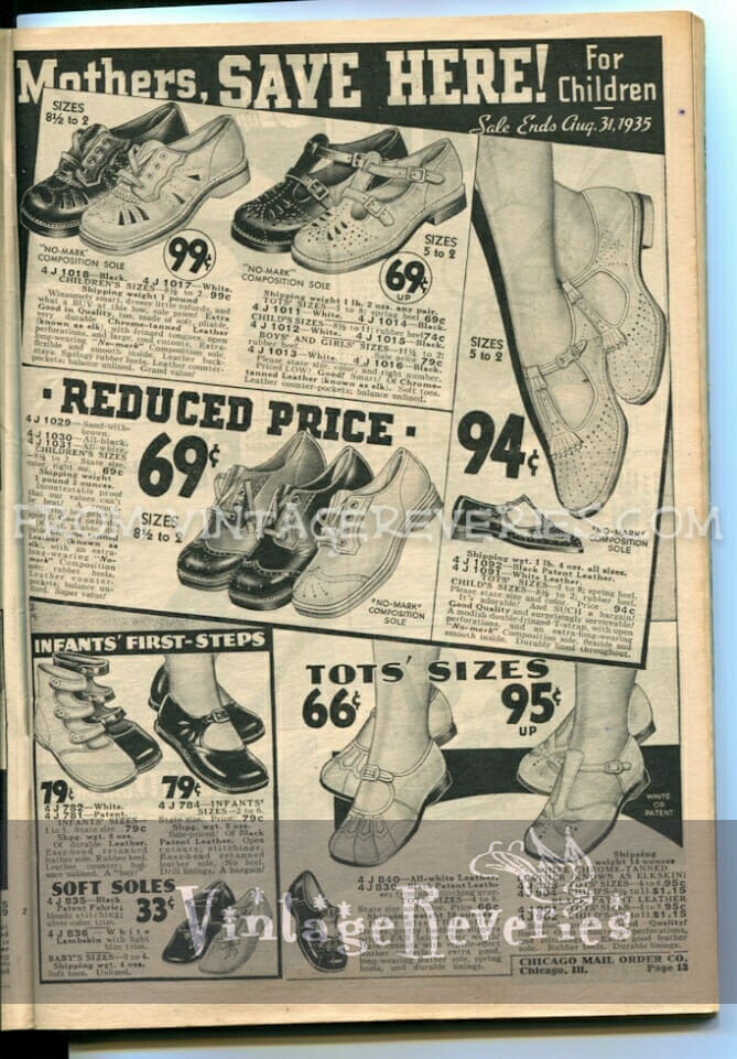 1930s childrens shoe styles