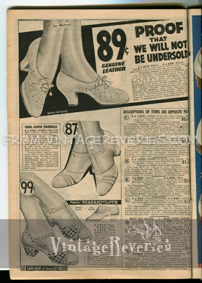 1930s womens sandal styles