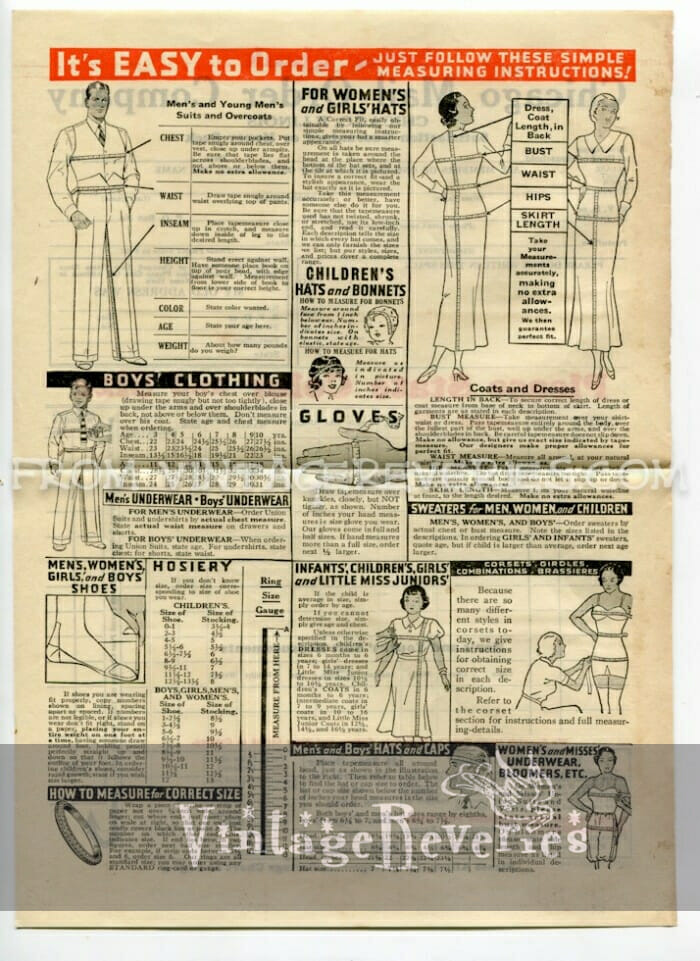 Measuring Instructions for 1930s Fashions