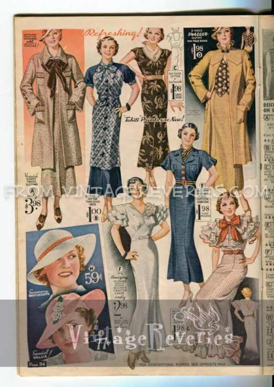 1935 dress and hat advertisement
