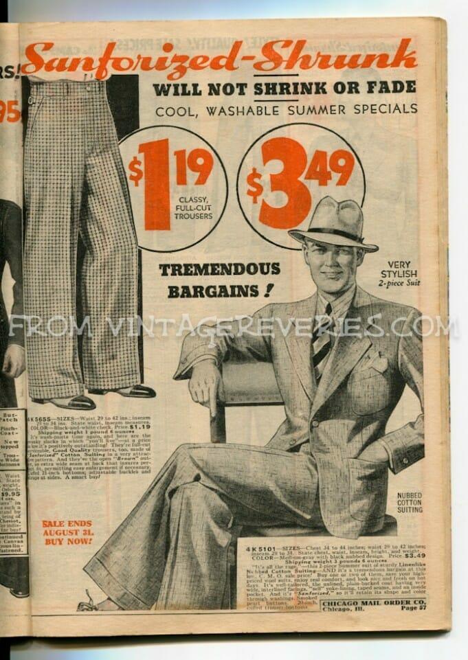 1935 Boys and Mens Fashions – hats, suits, shirts, pants…