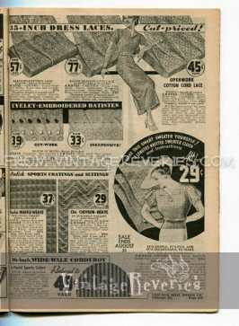 1930s sewing materials, dress laces, sweater kits