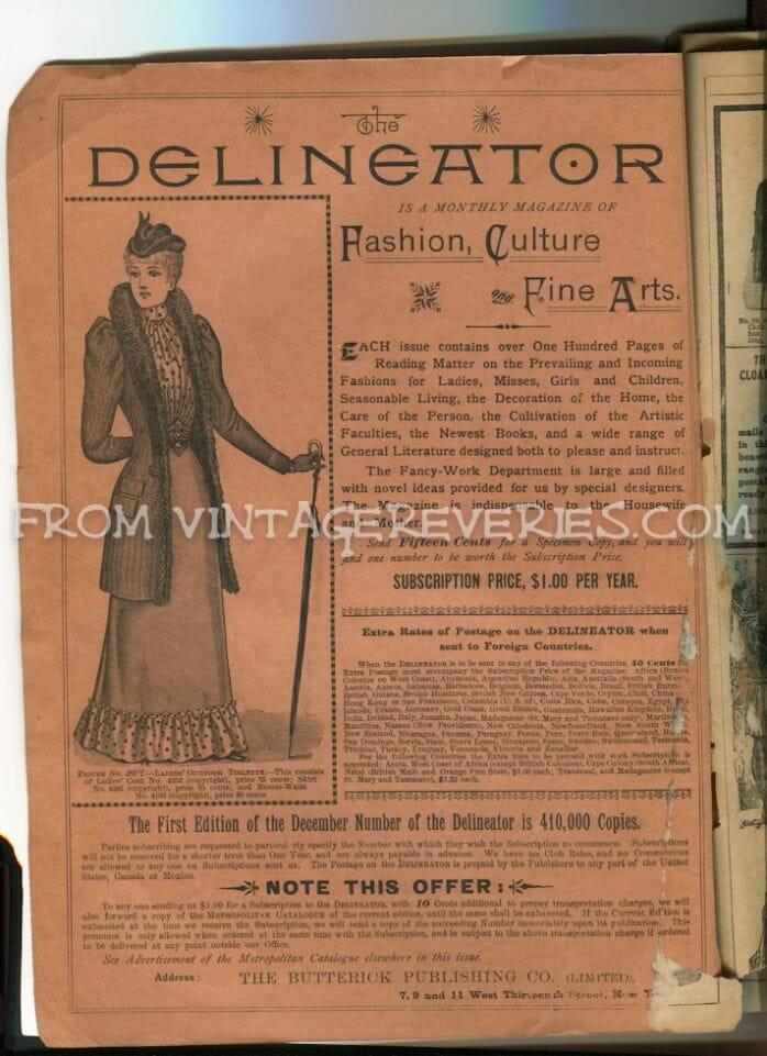 1892 The Delineator Fashion and Fine Arts Magazine