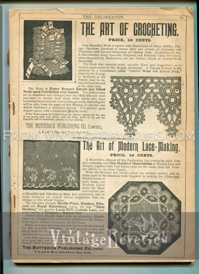 1890s crochet and lace pattern advertisements