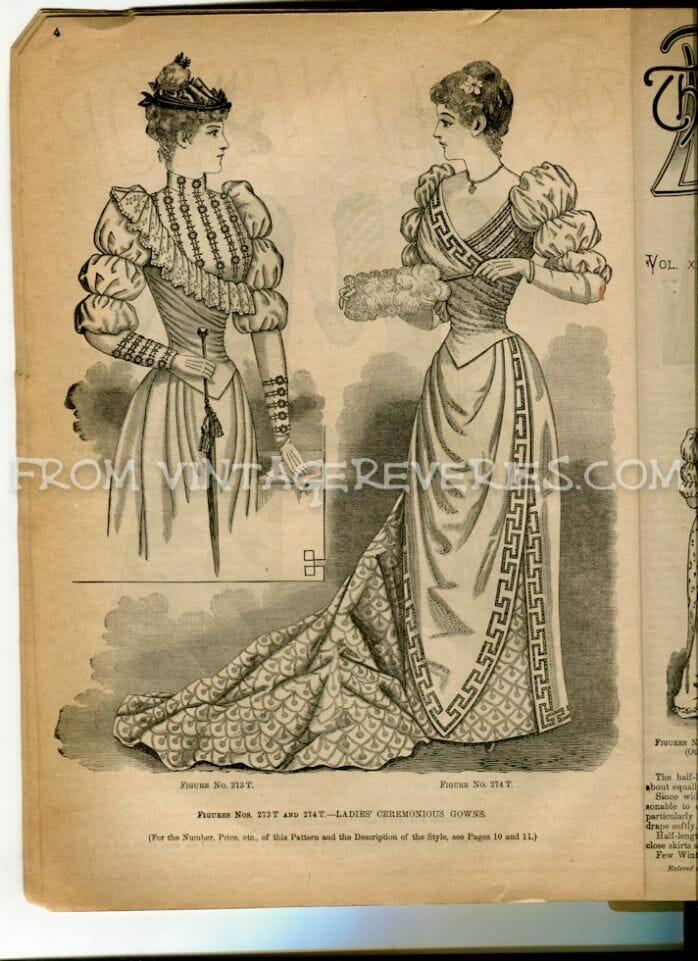 1890s ladies formal fashion illustration