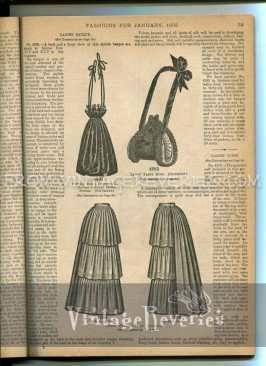 1890s umbrella skirt and shopping bag illustration