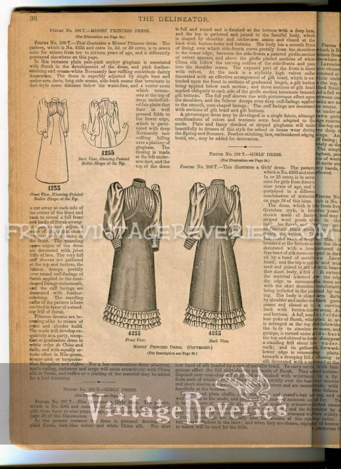 dress patterns and details for girls in the 1890s
