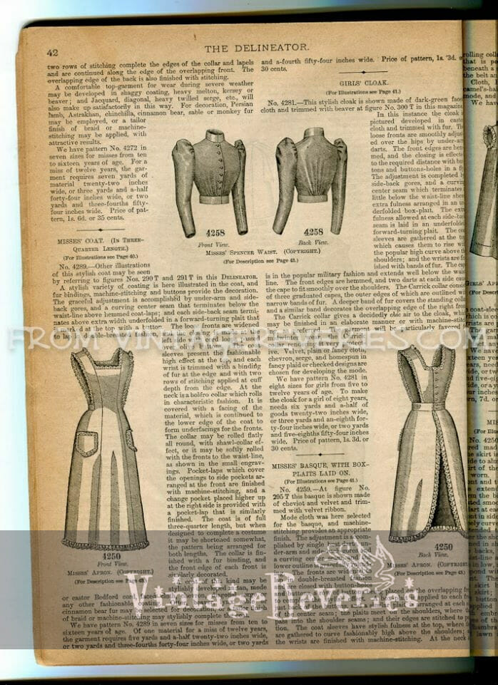 1890s pinnafore and apron styles