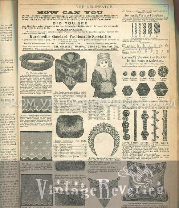 Victorian Advertisements: Dress Trimmings, Fur Coats, Beads, Stamps, New Mother Instructions, and More